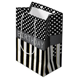 Rayas negras/bolso del regalo de cumpleaños del bolsa de regalo mediana