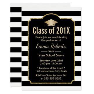Rayas negras de la fiesta de graduación y blancas invitación 12,7 x 17,8 cm