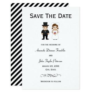 Rayas negras de la novia y del novio - 3x5 ahorran invitación 8,9 x 12,7 cm