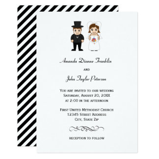Rayas negras de la novia y del novio - invitación
