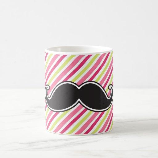 Rayas negras de la verde lima del rosa del bigote  taza de café