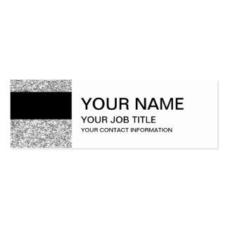 Rayas negras del encanto con el brillo de plata tarjetas de visita mini