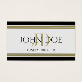 Rayas negras del oro del director de funeraria tarjeta de negocios