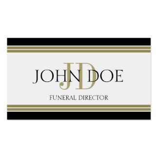 Rayas negras del oro del director de funeraria plantillas de tarjetas de visita