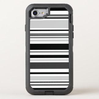 Rayas negras, grises, blancas distintivas funda OtterBox defender para iPhone 8/7