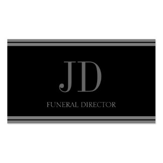 Rayas negras/grises del director de funeraria plantilla de tarjeta de visita