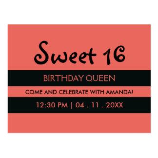 Rayas negras rosadas del melocotón - cumpleaños postal