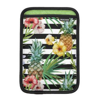 Rayas negras tropicales de la flor de la piña de funda para iPad mini