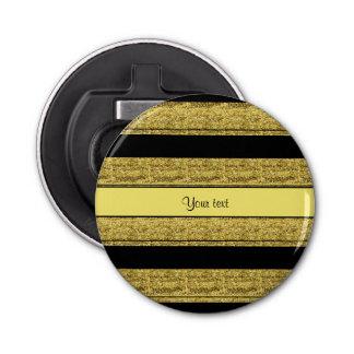 Rayas negras y amarillas elegantes del brillo abrebotellas