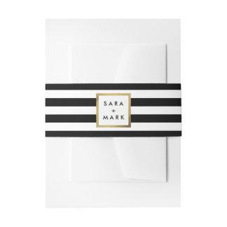 Rayas negras y blancas con personalizado de la cintas para invitaciones