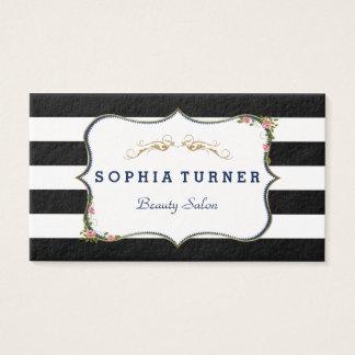 Rayas negras y blancas del oro floral del vintage tarjeta de visita