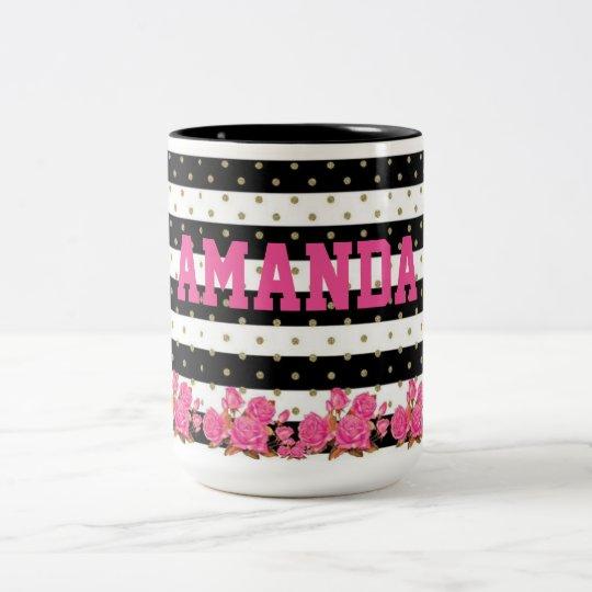 Rayas negras y blancas florales con los lunares taza de café de dos colores