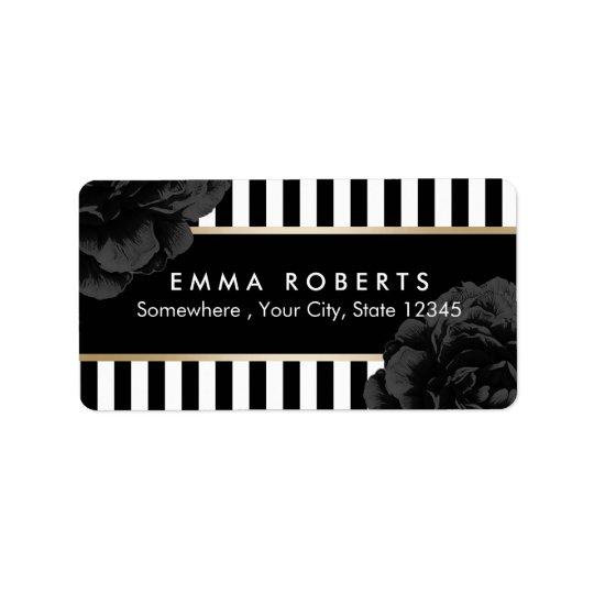 Rayas negras y blancas modernas florales negras etiqueta de dirección
