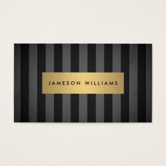 Rayas negras y grises intrépidas de lujo con la tarjeta de negocios