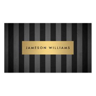 Rayas negras y grises intrépidas de lujo con la tarjetas de visita