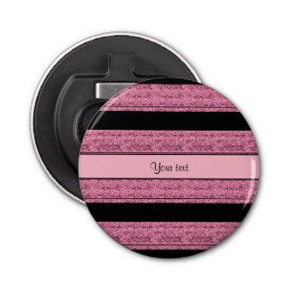 Rayas negras y rosadas elegantes del brillo abrebotellas