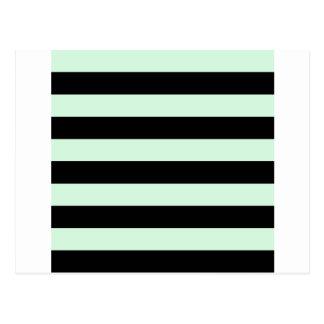 Rayas - negras y verde en colores pastel postal