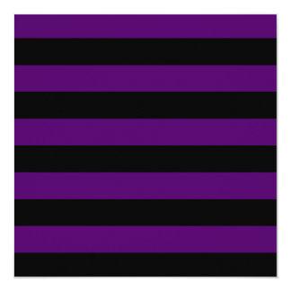 Rayas - negras y violeta oscura invitaciones personales