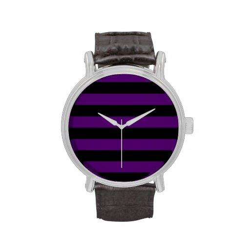 Rayas - negras y violeta oscura relojes de pulsera