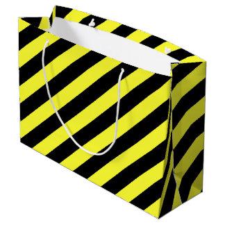 rayas negro y amarillo bolsa de regalo grande