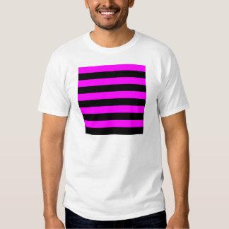 Rayas - negro y fucsia camisetas