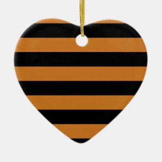 Rayas - negro y ocre adorno de cerámica en forma de corazón
