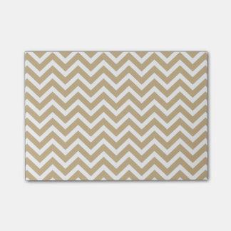 Rayas onduladas de Chevron en oro y blanco del Notas Post-it®