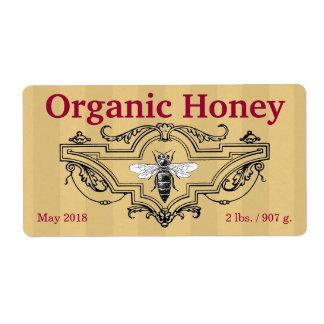 Rayas orgánicas de la abeja reina etiquetas de envío