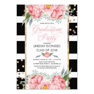 Rayas, oro, y fiesta de graduación de las flores invitación 12,7 x 17,8 cm