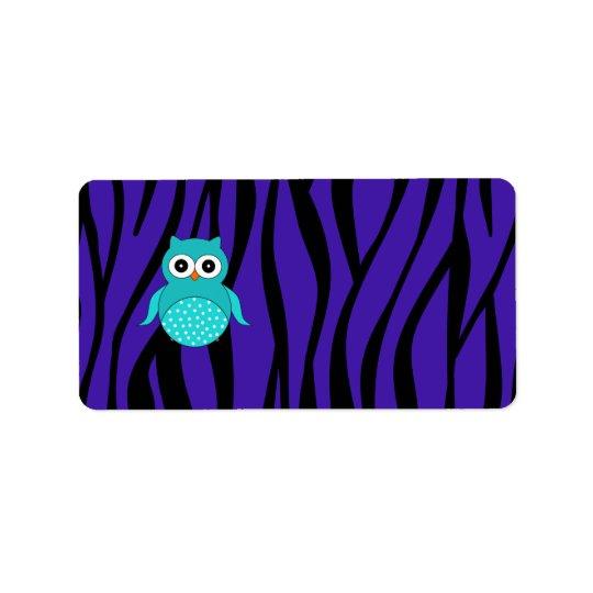 Rayas púrpuras de la cebra del búho lindo de la etiqueta de dirección