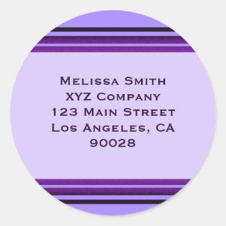 Rayas púrpuras del negocio pegatina redonda
