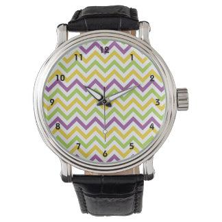 Rayas púrpuras, verdes, y amarillas violetas de reloj
