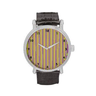 Rayas púrpuras, verdes, y amarillas violetas reloj