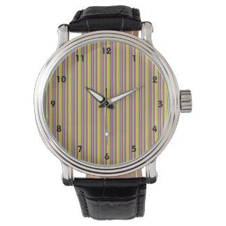 Rayas púrpuras, verdes, y amarillas violetas reloj de mano