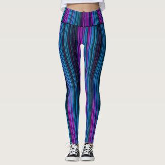 Rayas púrpuras y azules leggings