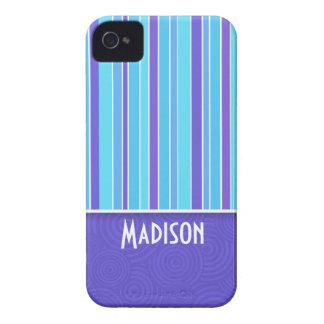 Rayas púrpuras y azules Rayado iPhone 4 Cobertura