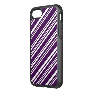 Rayas púrpuras y blancas diagonales funda OtterBox symmetry para iPhone 8/7