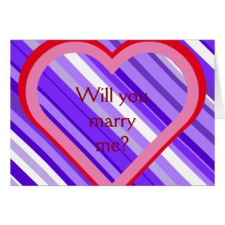 """Rayas púrpuras y blancas + ¿""""Usted me casará? """" Tarjeta De Felicitación"""