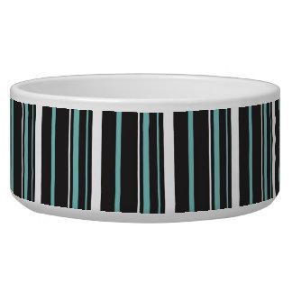 Rayas rayadas azules negras elegantes simples comedero para mascota