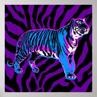Rayas retras del tigre del vintage del tigre 80s d impresiones