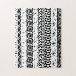 Rayas retras negras y blancas 1 del modelo puzzle