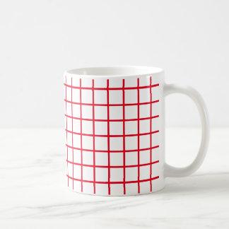 Rayas rojas brillantes del enrejado taza de café