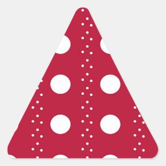 Rayas rojas de Polkadot Pegatina Triangular