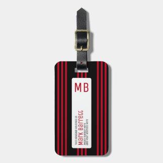 rayas rojas elegantes cones monograma (nombre y etiqueta para maletas