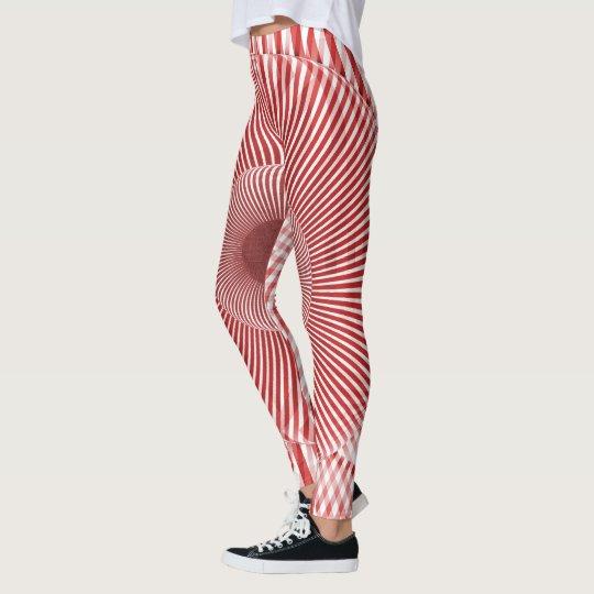 Rayas rojas en perspectiva leggings
