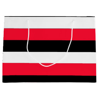 Rayas rojas, negras y de los blancos bolsa de regalo grande