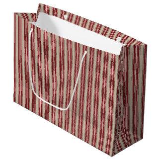 Rayas rojas y beige del navidad, bolso grande del bolsa de regalo grande