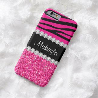 Rayas rosadas de la cebra del brillo en la caja funda barely there iPhone 6