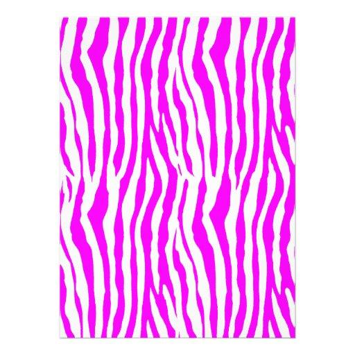 Rayas rosadas de la cebra invitaciones personales