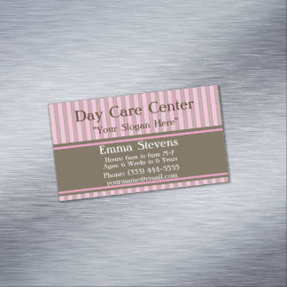 Rayas rosadas del cuidado de niños, tarjeta de tarjetas de visita magnéticas (paquete de 25)